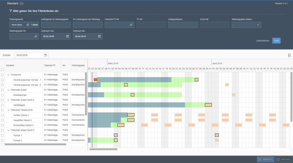 Wartungsplanung in der SAP Fiori Oberfläche